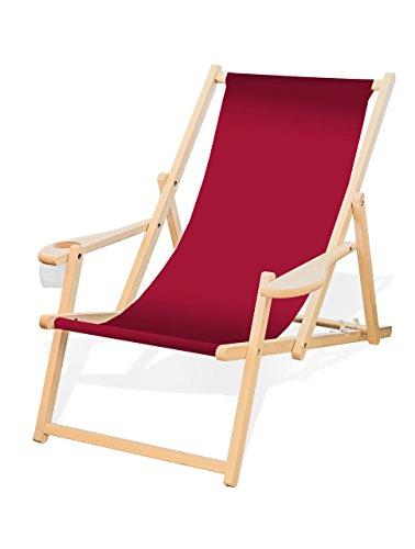 Holz-Liegestuhl mit Armlehne und Getränkehalter, Klappbar, Wechselbezug (Rot)