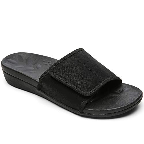 Archies Orthopeic Slides for Women, Cushioned Plantar Fasciitis Sandals for Flat Feet, Women Slide Sandals with Arch Support for Walking black size 8