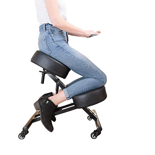 Sleekform Kneeling Chair Height Adjustable | Ergonomic Posture Correcting Knee Stool for Bad Back Support, Neck Pain Relief, Computer Desk | Orthopedic Faux Leather Knees Cushions | Rollerblade Wheels