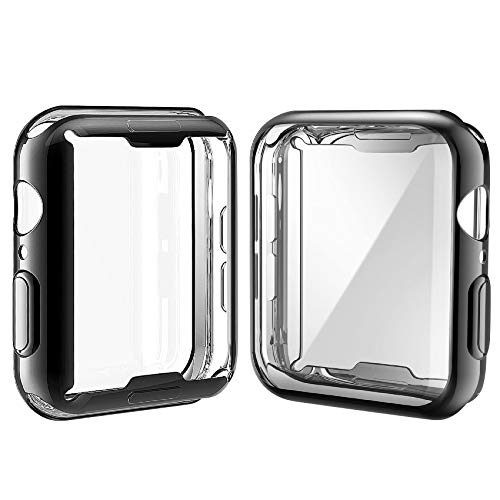 [2-Pack] Julk Case for Apple Watch Series 6 / SE/Series 5 / Series 4 Screen Protector 44mm, Overall Protective Case TPU HD Ultra-Thin Cover (1 Black+1 Transparent)