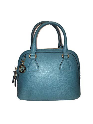 Gucci Women's Teal Blue Leather 2-Way Convertible GG Charm Small Dome Bag