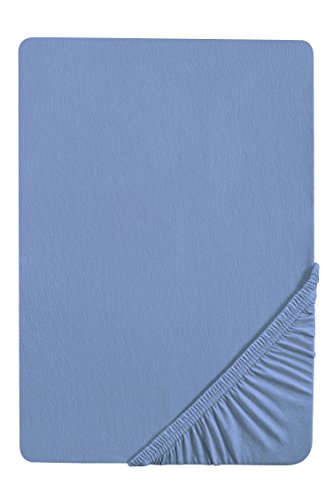 Castell 77113/256/087 Jersey-Stretch Spannbetttuch / 180 x 200 cm - 200 x 200 cm / Farbe: ozeanblau
