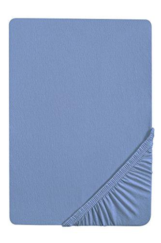 biberna 0077144 Spannbetttuch Feinjersey (Matratzenhöhe max. 22 cm) 90x190 cm > 100x200 cm, blau