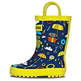 LONECONE Rain Boots with Easy-On Handles in Fun Patterns for Toddlers and Kids, Rainbots, 6 Toddler