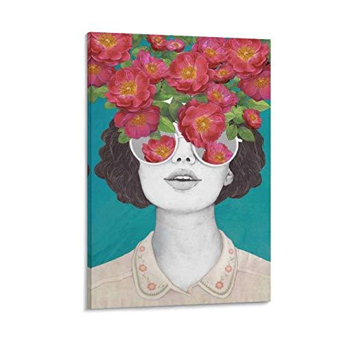 caonidaye The Optimist Rose - Póster de arte con gafas tintadas, diseño de rosas estéticos, 30 x 45 cm