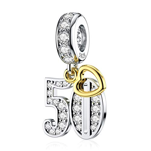JIAYIQI 50th Birthday Charm for Pandora Charm Bracelets, Happy Birthday Charms for Bracelet and Necklace,925 Sterling Silver Bead Openwork Charms for Women Gift