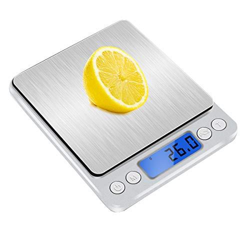 キッチンスケール はかり デジタル 精密 電子はかり 計量器 電子天秤 0.1g単位 3kg キッチ クッキングスケール コンパクト 風袋引き機能 オートオフ 個数計算可能 多用途 超小型 シルバー LCDディスプレイ 測り 料理 調理 お菓子作り 薄型