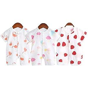 夏 半袖ロンパース 赤ちゃん 綿 コットン 3枚組 前開きタイプ Baby 肌着パジャマ カバーオール 可愛いプリント 北欧スタイル (ホワイト, 90)