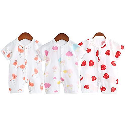ベビー服 ロンパース 半袖 赤ちゃん 肌着 夏 綿 3枚セット 前開き 着替え便利 可愛い 肌着パジャマ新生児服...