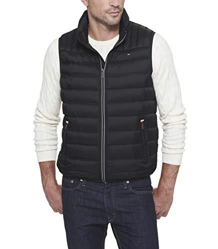 Tommy Hilfiger Men's Lightweight Ultra Loft Quilted Puffer Vest (Standard and Big & Tall), Black, Large