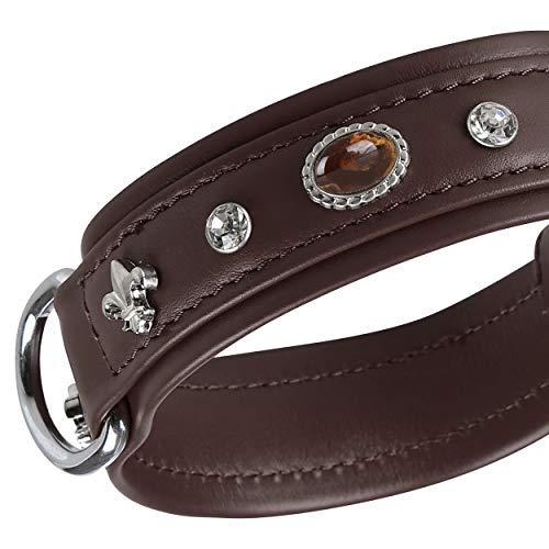 MICHUR Mateo Hundehalsband Leder, Lederhalsband Hund, Halsband, Braun, Leder, mit Lilien, Strasssteinen und braun marmorierten Steinen, in verschiedenen Größen erhältlich