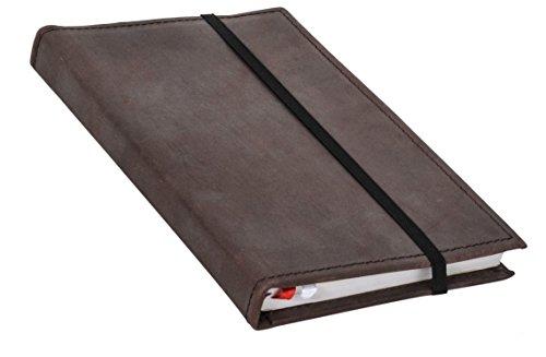 Buch Notizbuch Tagebuch mit Stiftehalter DIN A5 Braun Leder