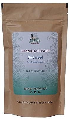 SHANKHPUSHPI Powder (USDA CERTIFIED ORGANIC) Convolvulus pluricaulis - 100g Zip Lock Pouch | 100% Pure and Organic Herbal Food Supplement
