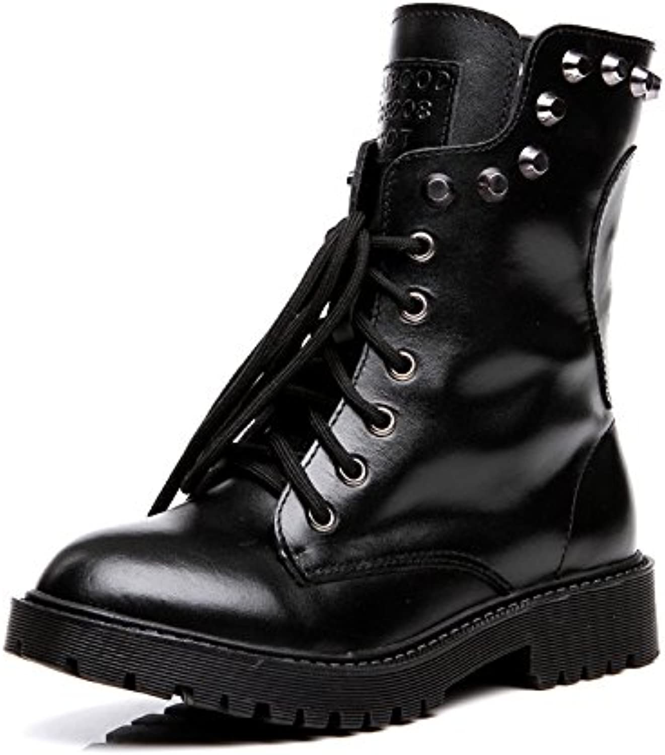 AVBGT New Leather Boots Autumn Winter Short Boots Rivets Retro Students Europe And America
