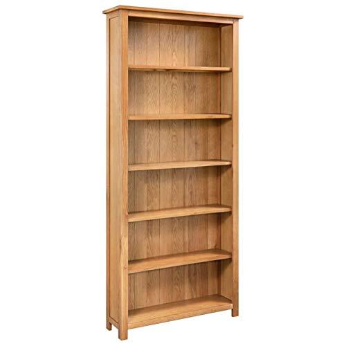 Irfora Bücherregal 6 Fächer Bücherschrank Holzregal Standregal Wandregal Aktenregal 80×22,5×170 cm Massivholz Eiche