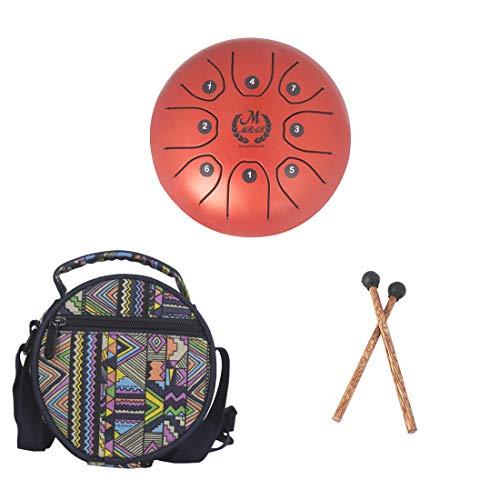 LLC - Drums Steel Tongue Drum 8 Notes 5.5 Inch/14cm, Percussie voor Muziek Verlichting, Prestaties Leren, Yoga Meditatie, Zen Tea, met Reistas, Mallets