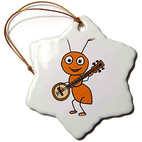 Blake55Albert All Smiles Art Funny Funny Cute Red Ant Playing Banjo Music Cartoon Christmas Ornaments for Kids Christmas Tree Decoration Ceramic 3 Inches