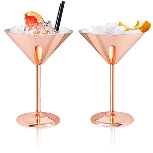 Lujosas copas de cóctel de martini de acero inoxidable de 240 ml, 2 piezas/juego (Rose Gold)