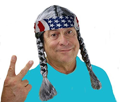 Willie Nelson Wig, Old Man Wig, Grey Hippie Wig Costume, Willie Costume Wig, Country Cowgirl Cowboy Willy Wig, Mens Hippy Wig with Braids and an American Flag Bandana