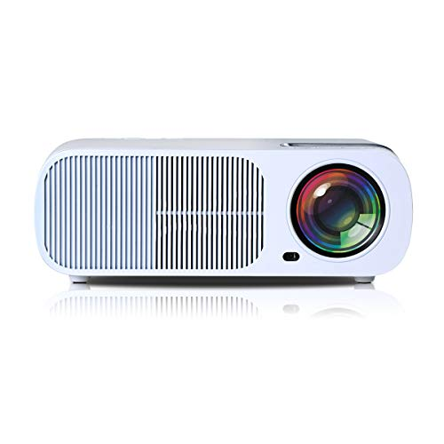 WOGQX Proyector, Proyector De Video HD Home Theater De 800 * 480 HD 2600 Lúmenes, Vida Útil 20000 Horas, 2000: 1 Contraste, Pantalla Grande De 30-200 Pulgadas, Compatible VGA/USB/HDMI/SD,Blanco