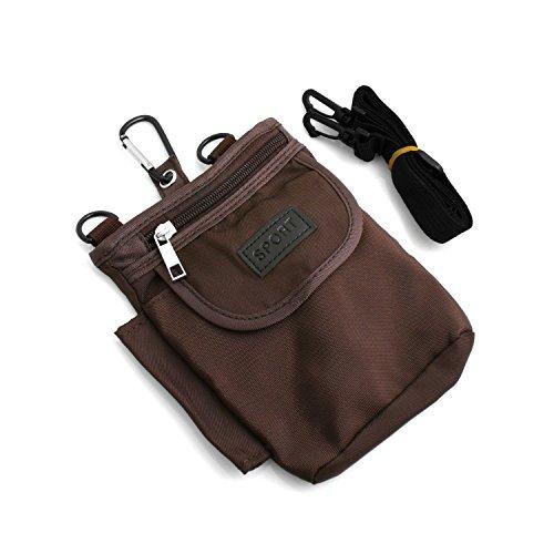 System-S Universal Tasche Umhängetasche Schultertasche Gürteltasche Schutztasche für Handy Smartphone mit 3 Fächern braun