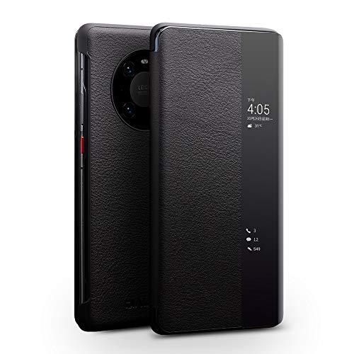 coque Huawei Mate 40 Pro Hülle,intelligentes Fenster,Anti-Drop-Licht & dünnes echtes Rindsleder,Handyhülle Geeignet für Huawei Mate 40 Pro(Schwarz)
