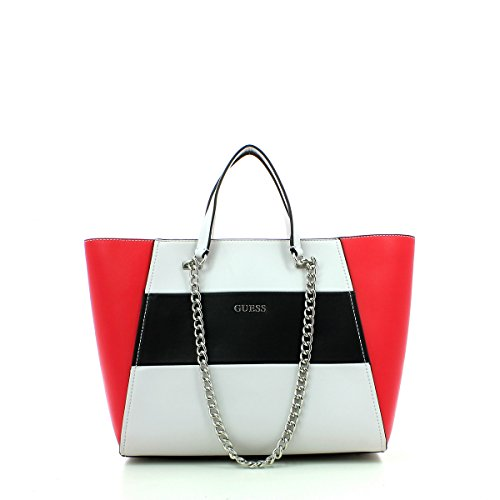 Guess Nikki chain shopping bag tote red multicolor