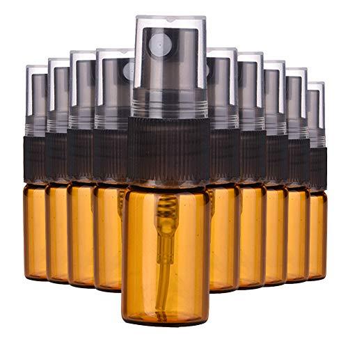 MoreChioce 10 ML Sprühflasche Glas,10 Stück Glasflaschen Klein Leer Parfümzerstäuber Spray Flaschen Nachfüllbare Parfüm Kosmetik Container mit Sprühnebel Sprüher Pumpe Braun