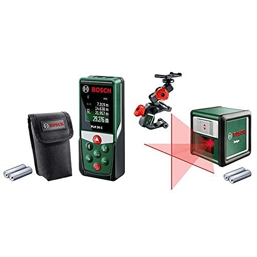 Bosch Entfernungsmesser PLR 30 C (mit App-Funktion, Messbereich: 0,05–30 m, Genauigkeit: ± 2 mm, im Karton) & Kreuzlinienlaser Quigo mit Multihalterung MM 2 (3. Generation, Reichweite: 10 m)