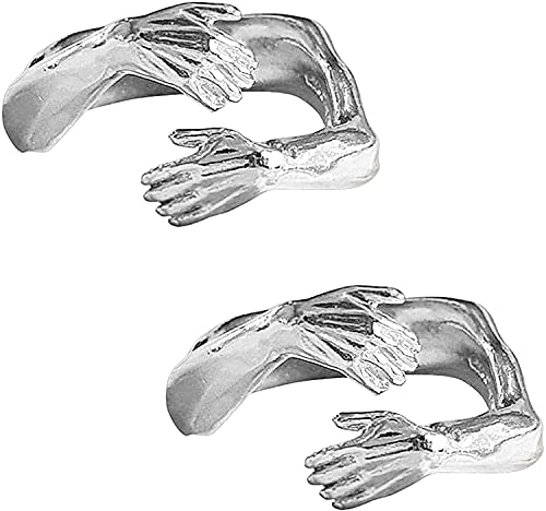 Anillo de Abrazo de Pareja Nuevo de 2 Piezas, Anillo Abierto de Acero Inoxidable Ajustable, Amor Romántico para Parejas, Galvanoplastia de Platino, DTTX001