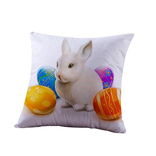 Kissenbezüge Ostern Deko Ei Rabbit Kaninchen Kissenbezug Zierkissenbezüge Baumwolle Throw Pillow Covers Cases Festival Kissenhülle Decoration Schlafsofa Home URIBAKY