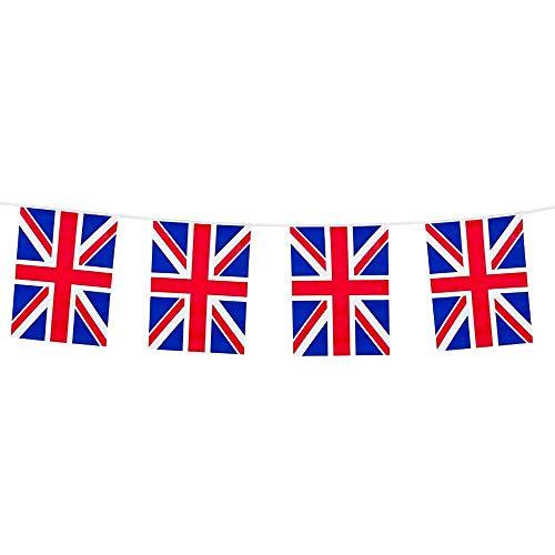 Boland 11605 - Wimpelkette Union Jack, Länge 10 Meter, Großbritannien, Nationalflagge, Fahnenkette, Kunststoffgirlande, Hängedekoration, Fußball, Weltmeisterschaft, Mottoparty