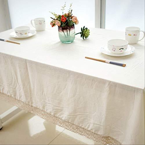 DQGZYF Mantel de Lino y algodón Liso Natural, Cubierta de Mesa de Centro Lavable a Prueba de Polvo, decoración de Comedor para el hogar, 140 * 200 cm