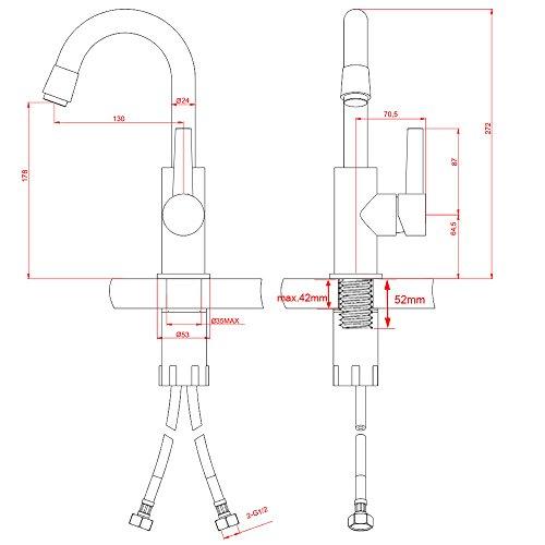 Homelody 360° Drehbar Mischbatterie Chrom Wasserhahn Küche Bad Armatur Küchenarmatur Waschbeckenarmatur - 8