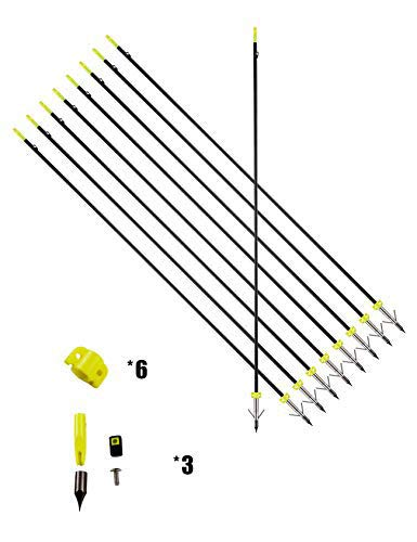 PANDARUS 34inch 8MM Bow Fishing Hunting Arrows Archery Fiberglass Arrows with Safety Slides (Pack of 6)