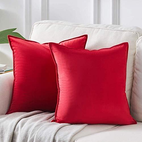 DAOXU Funda de cojín de Terciopelo para Ropa de Cama, Paquete de 2, Funda de Almohada Decorativa para sofá y Funda de sofá (Rojo, 50x50cm(2pcs))
