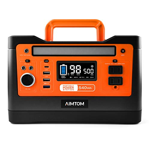 AIMTOM 540Wh Portable Power Station, Lithium Battery Pack with 110V/500W AC, 12V DC, USB, Carport,...