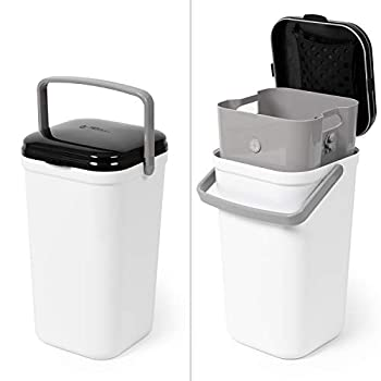 PetFusion PF-LC1A Portable Cat Litter Disposal  Locking Handle Complimentary Litter Deodorizer & 10 Biodegradable/Compostable Waste Bags Incl  White and Black