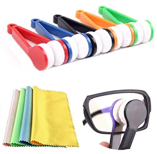Dusenly - Juego de 15 cepillos de limpieza para gafas, limpiador de microfibra, cepillo suave, con paño de limpieza para gafas