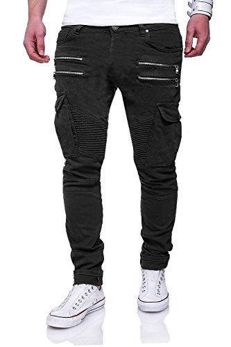 MT Styles Zipper Biker Jeans Slim Fit Hose RJ-3196 [Schwarz, W33/L32]