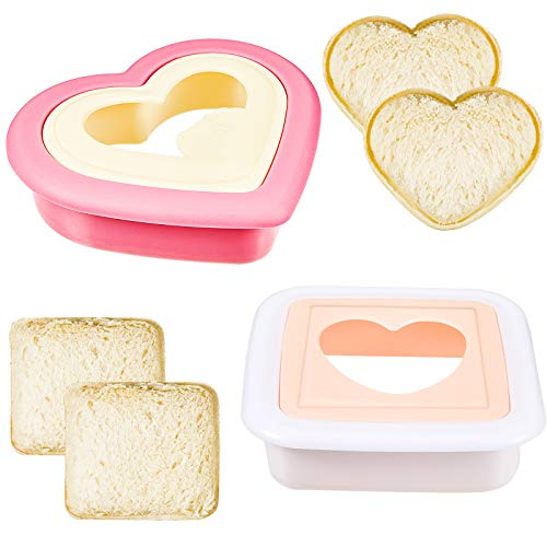 2 Pieces Heart Sandwich Cutter and Sealer Decruster Bread Sandwich Maker Cutters Make DIY Pocket Sandwiches Mold Square Shape Decruster Sandwich Maker for Kids and Family Kitchen Tools