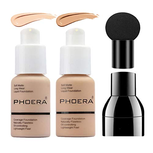 PHOERA Foundation Set, Full Coverage Matte Liquid Foundation Makeup with Mushroom Head Applicator, Oil Control Flawless Concealer Cover Facial Blemish for Women Girls (102&104)
