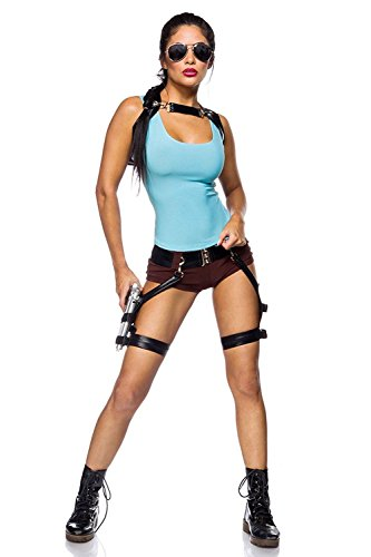 Gamer Girl Ladies kostuum voor Tomb Raider Lara Croft fans 7-delig Blue Brown