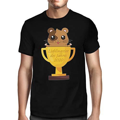 Fashionalarm Herren T-Shirt - Lieblingstier des Jahres 2020 | Fun Shirt mit Spruch als Geschenk-Idee Hamsterkäufe COVID-19 Corona-Satire Hamster, Schwarz XL