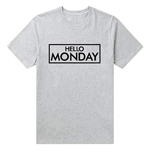 Damen T Shirt, CixNy Bluse Damen Kurzarm Sommer Lässiger Ärmel O Neck Letter Pullover Oberteil Tops (Grau, Large)