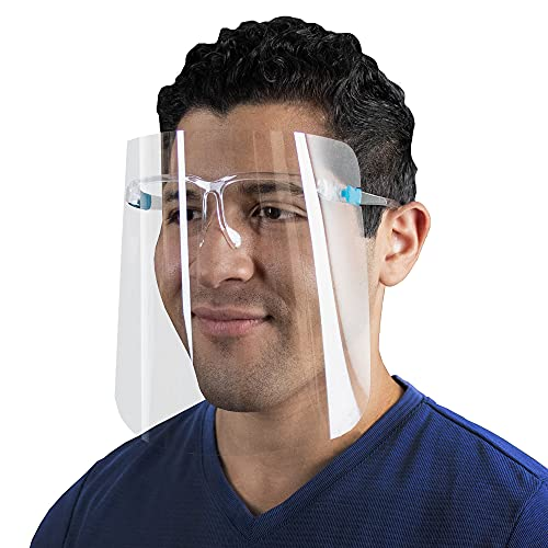 Safety Face Shields with Glasses Reusable Full Face Protection Transparent Lightweight 10 Pack