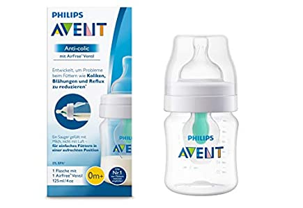 Philips AVENT Anticólico - botella con Airfree Válvula, 125ml, 1er Pack,transparente