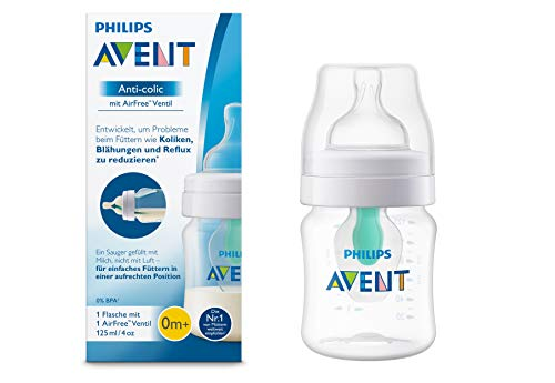 Philips AVENT Anticólico -  botella con Airfree Válvula, 125 ml, 1er Pack,transparente