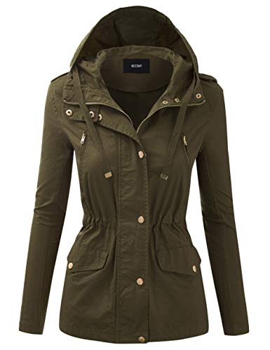 FASHION BOOMY Women's Zip Up Safari Military Anorak Jacket with Hood Drawstring - Regular and Plus Sizes 1X-Large H-11-OLIVE