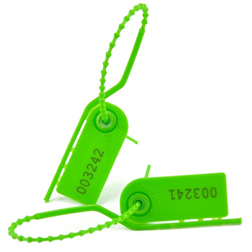 100 Plastic Tamper Seals for Fire Extinguisher Pull Tight Security Tags Numbered Disposable Tear Away Ties 210mm, Green